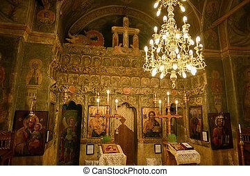 meraviglioso, interno, soffitto, di, un, chiesa ortodossa