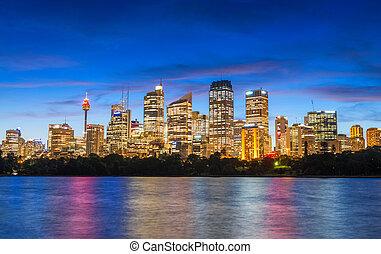 meraviglioso, orizzonte, australia, sydney, notte