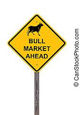 mercado, à frente, touro