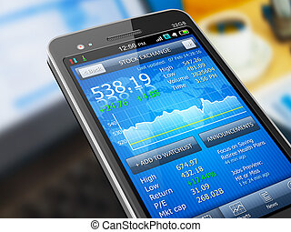 mercado, acción, aplicación, smartphone
