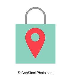 mercado, alfiler, bolsa, ubicación, compras