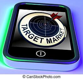 mercado alvo, ligado, smartphone, mostra, alvejado, fregueses