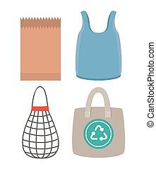 mercado, bolsas, conjunto, iconos
