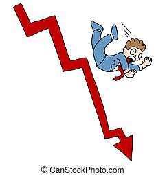 mercado cayendo, acción