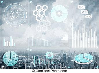 mercado, cityscape, fundo, dados, estoque