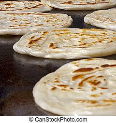 mercado, cocina, parrotha, indio, hotplate, bread