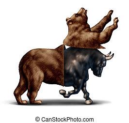 mercado, concepto, toro