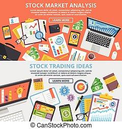 mercado conservado estoque, analytics, conceito