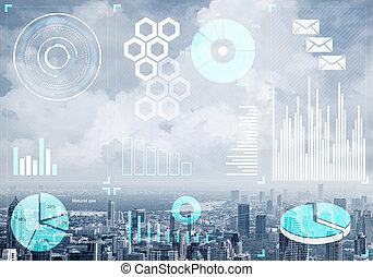mercado conservado estoque, cityscape, dados, fundo