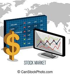 mercado conservado estoque, com, estatísticas