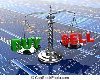 mercado conservado estoque, concept., escala, ligado, financeiro, graph.