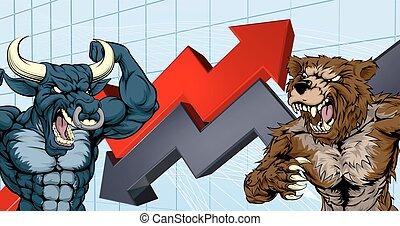 mercado conservado estoque, contra, ursos, touros, conceito
