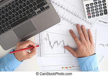 mercado conservado estoque, gráficos, monitorando