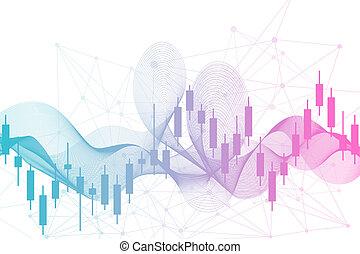 mercado conservado estoque, ou, forex, negociar, graph., mapa, em, mercado financeiro, vetorial, ilustração, abstratos, finanças, fundo