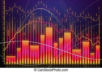 mercado, crescimento, finanças, e, operação bancária, conceito