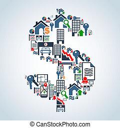 mercado de característica, inversión, empresa / negocio
