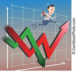 mercado de valores, con, hombre de negocios