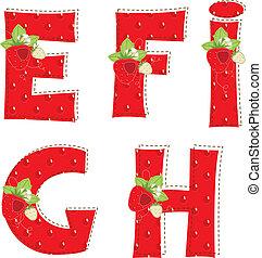 mercado de zurique, alphabet., h, atrawberry, carta g, f, vermelho