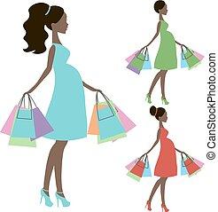 mercado de zurique, vetorial, grávida, mommy, modernos, silueta, venda, fundo, online, branca, loja, logotipo, ícone
