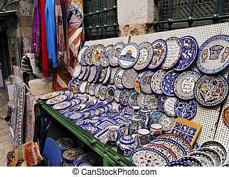 mercado, en, jerusalén, israel