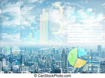 mercado, estoque, dados, fundo, cityscape