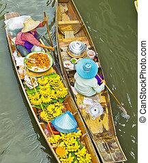 mercado flutuando damnoen saduak, perto, bangkok, em,...