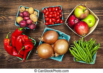 mercado, frutas legumes
