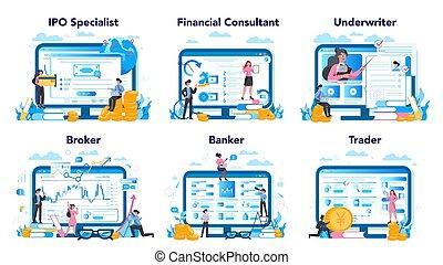 mercado, idea, tela, profesión, finanzas, platform., sitio, ...