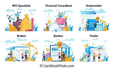 mercado, inversión, idea, profesión, finanzas, set., acción...