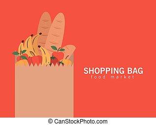 mercado, lleno, compras, letras, papel, alimento, bolsa, productos