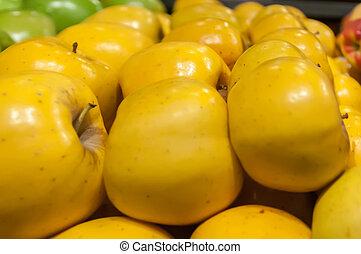 mercado, maçãs, exposição, amarela, agricultores