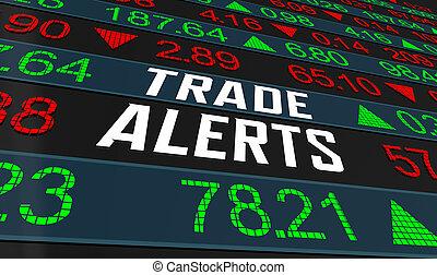 mercado, mensajes, inversión, servicio, alerts, comercio, ilustración, acción, 3d