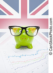 mercado, série, sobre, -, mapa, bandeira britânica, parte, piggy, fundo, banco, estoque