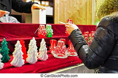 mercado, vendedor, nuevo, velas, navidad, vilnius, colorido...
