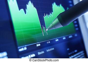mercados, gráficos, negócio