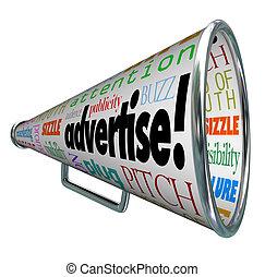 mercadotecnia, anunciar, megáfono, megáfono, palabras