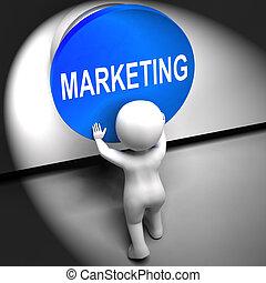 mercadotecnia, apretado, medios, marca, promociones, y,...