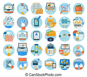mercadotecnia, artículos, icons., oficina, empresa / negocio
