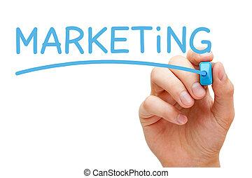 mercadotecnia, azul, marcador