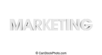mercadotecnia, blanco, 3d, texto