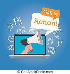 mercadotecnia, botón, llamada, en línea, acción, diseño, ...