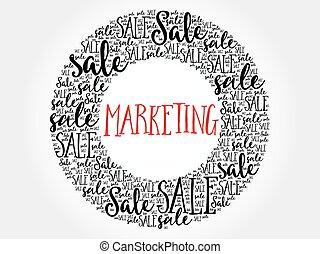 mercadotecnia, círculo, palabra, nube