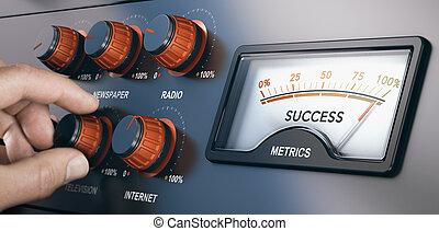 mercadotecnia, campaña, exitoso, medios, multi-channel, masa