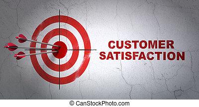 mercadotecnia, concept:, blanco, y, satisfacción del...