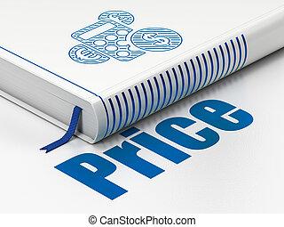 mercadotecnia, concept:, libro, calculadora, precio, blanco,...