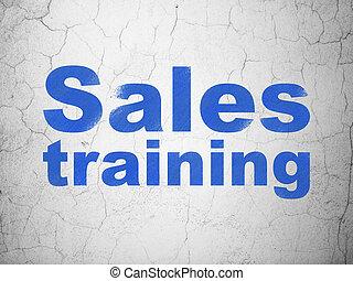 mercadotecnia, concept:, ventas, entrenamiento, en, pared, plano de fondo