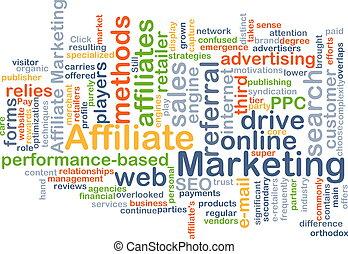 mercadotecnia, concepto, affiliate, plano de fondo