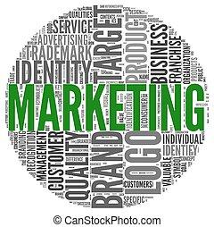 mercadotecnia, concepto, en, palabra, etiqueta, nube