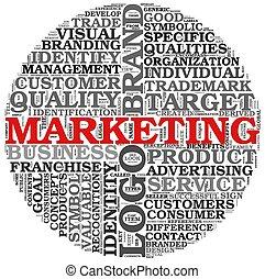 mercadotecnia, concepto, palabra, nube, etiqueta