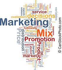 mercadotecnia, concepto, plano de fondo, mezcla